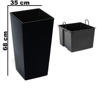 Doniczka wysoka z wkładem połysk Czarny H 680 mm