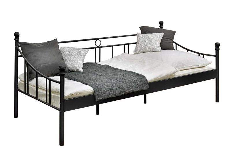 łóżko Metalowe Pojedyncze Czarne 90x200 Cm Stalowe