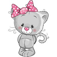 Szara kotka z kokardą 10 x 10 cm naklejka ścienna dziecka