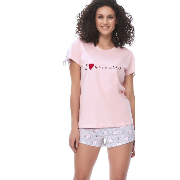 51a31f84942546 Piżama damska krótka ciastka róż bawełna 9622 Różowy L • Arena.pl