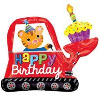 Balon foliowy HAPPY BIRTHDAY koparka urodziny tort
