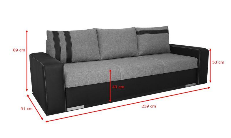 Zaktualizowano Kanapa AMAR III wersalka rozkładana sofa łóżko ekoskóra szara JF58