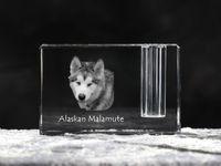 Malamut - kryształowy stojak na długopis z wizerunkiem psa, pamiątka, dekoracja, kolekcja.