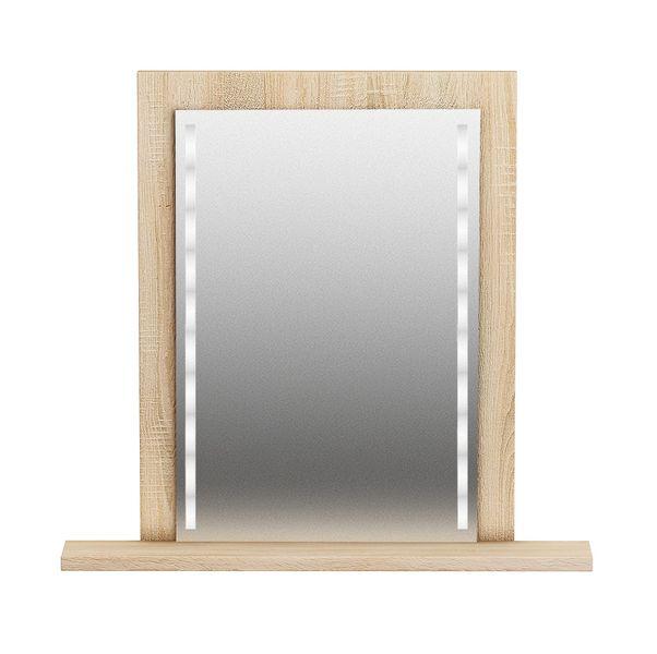 Lustro Z Oświetleniem Led Dąb Sonoma Z Półką 65x50 Cm Arenapl