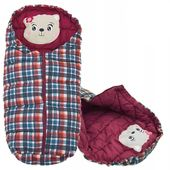 Śpiworek do wózka 4w1 BEAR BURGUNDY-CHECKERED