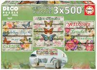 Puzzle 3 x 500 el. Kwiaty i motyle
