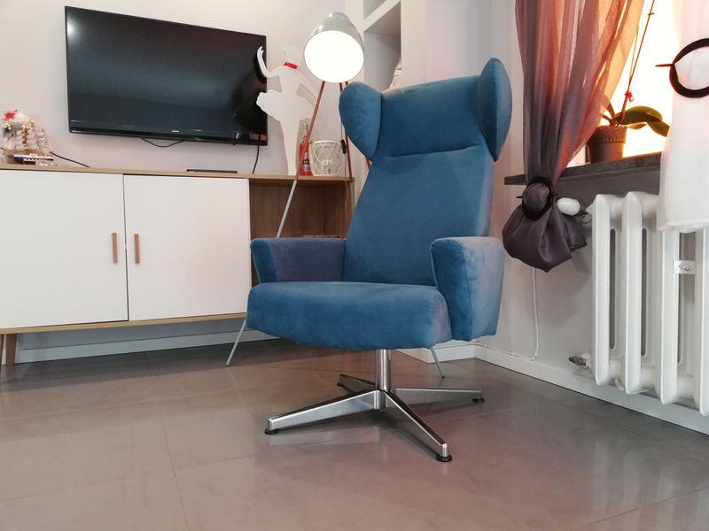 Fotel Uszak Obrotowy Podstawa Aluminium Duzy Wygodny Prl Biurowy