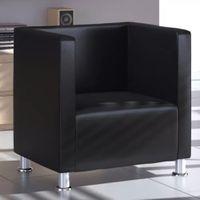 Fotel W Formie Kostki Ze Skóry Syntetycznej, Czarny