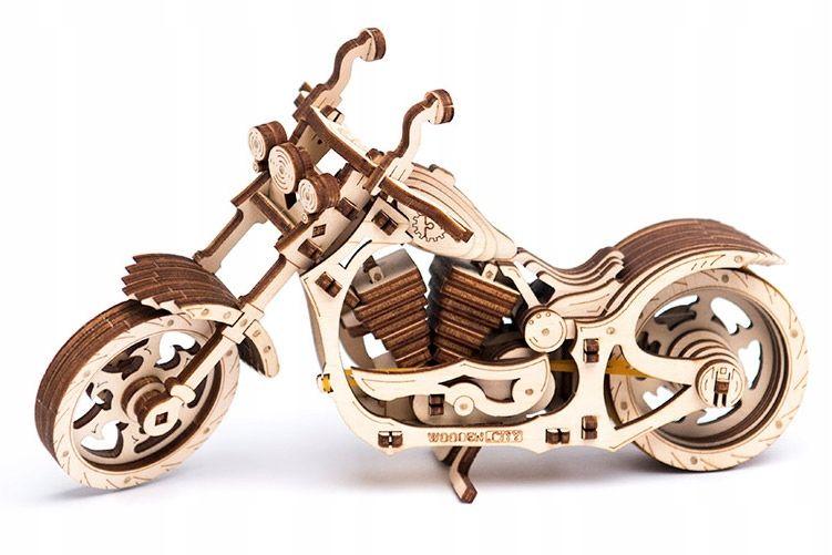 Motocykl Mechaniczne Puzzle 3D Drewniane Wooden City zdjęcie 14