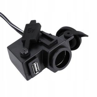 Wodoodporne gniazdo zapalniczki do motoru + ładowarka USB
