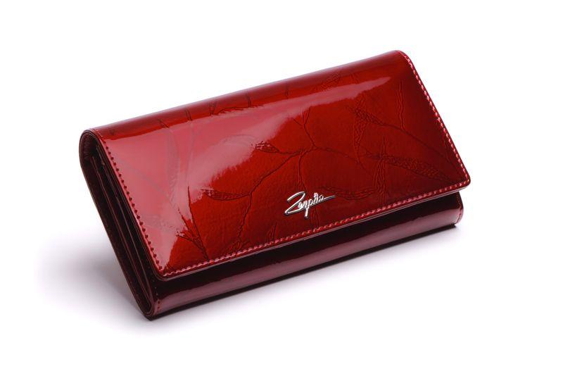 Portfel skórzany damski Zagatto czerwony w liście RFID ZG-102 Leaf zdjęcie 1