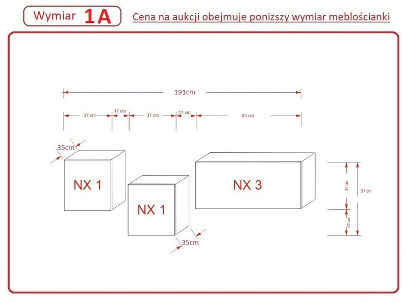Szafka RTV wisząca Meble Salon stolik pod TV GALICJA N263 Połysk na Arena.pl