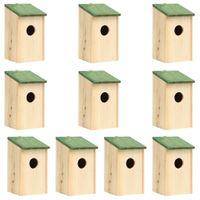 Lumarko Domki dla ptaków, 10 szt., lite drewno jodłowe, 12x12x22 cm