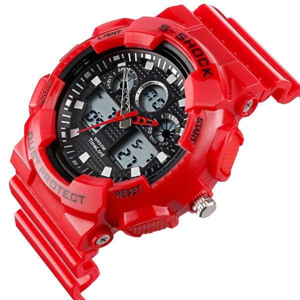 Męski Elektroniczny Zegarek S-SHOCK Trzy Kolory Biały Czerwony Czarny zdjęcie 2
