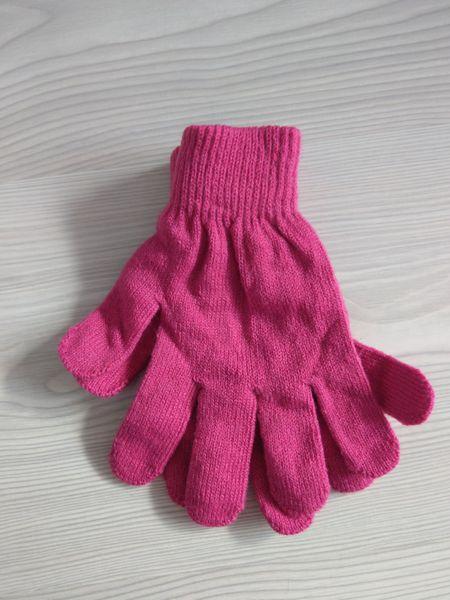 1 Kiddy rękawiczki 5-palczaste jednokolorowe ciemny róż zdjęcie 2