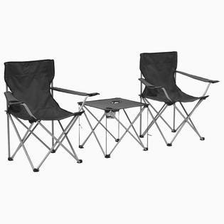 Stolik I Krzesła Turystyczne, 3 Elementy, Szare