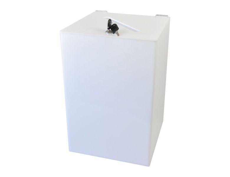 Urna skarbonka puszka skrzynka na dokumenty plexi mleczna 30x30x45 cm na Arena.pl