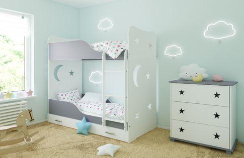 Łóżko piętrowe STARS 160x80 + 2 materace piankowe + pojemna szuflada