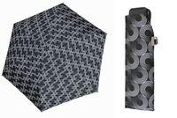 Lekka wytrzymała płaska parasolka Doppler Carbonsteel, czarna w okręgi