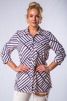 Bluzka o koszulowym kroju w paski z kieszenią na biuście - Multikolor 44