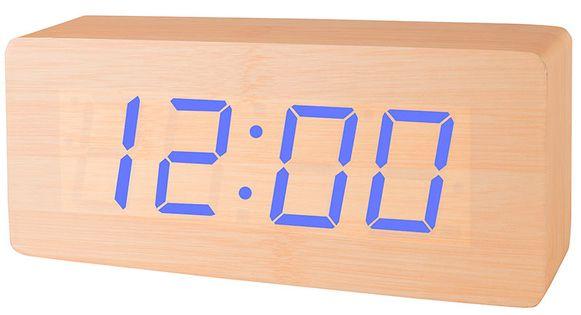 XONIX GHY-006YK Drewniany czytelny budzik, zasilanie bateryjne, termometr, datownik, szerokość ok. 21cm