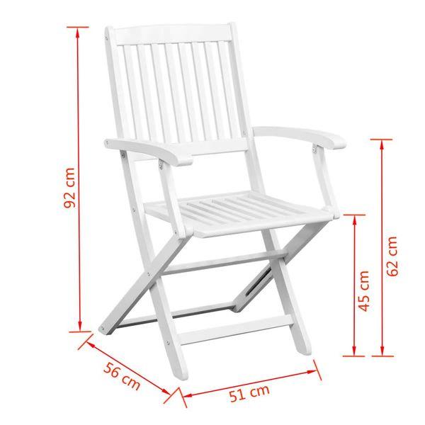 Składane krzesła z drewna akacjowego, białe, 2 szt.