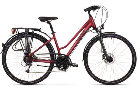 """Kross Trans 5.0 28 M 17"""" rower rubinowy czarny połysk 12"""