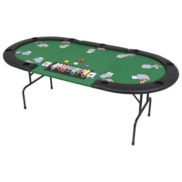 Składany, owalny stół do pokera dla 9 graczy, zielony zdjęcie 1