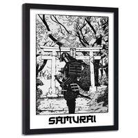 Plakat ozdobny w ramie czarnej, Czarno - biały samuraj 50x70
