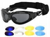 Okulary gogle wymienne szkła + polaryzacja + pasek