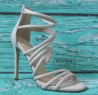 Sandałki na szpilce, szpilki, beżowe, zamsz r. 39