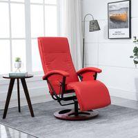 Fotel obrotowy czerwony sztuczna skóra VidaXL