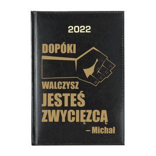 KALENDARZ A5 2022 czarny na PREZENT z DEDYKACJĄ NADRUK