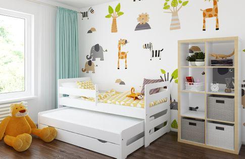 Łóżko PODWÓJNE FILIPPO + 2 materace 180x80 i 160x80 + szuflada