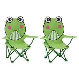Krzesełka ogrodowe dla dzieci 2 szt zielone VidaXL
