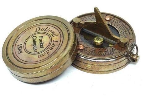 Kompas z zegarem słonecznym, mosiądz, retro NC1236