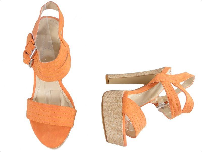 Pomarańczowe sandały na platformie sandały na słupku 37