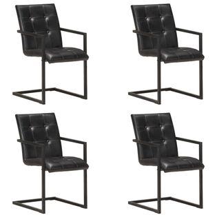 Lumarko Krzesła stołowe, wspornikowe, 4 szt., czarne, skóra naturalna