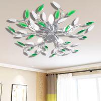 Lampa sufitowa z akrylowymi kryształowymi liśćmi zieleń+biel 5 x E14