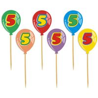 Dekoracja ozdoba piker na tort 5 urodziny baloniki