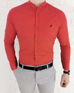 Koralowa koszula meska slim fit ozdobny znaczek 0284/4 - S