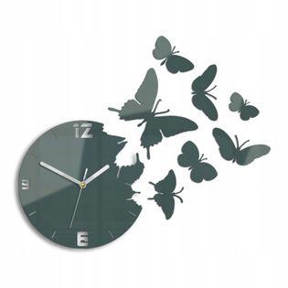 Zegar Ścienny MOTYLE Szary nowoczesny cichy Nowoczesny