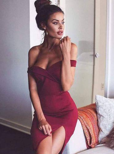 Sukienka Kessy mini bez ramiączek-bordowy S (36) na Arena.pl