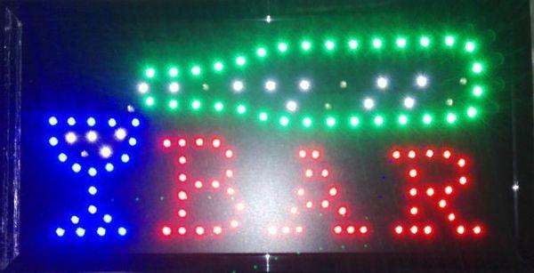 Animowana tablica LED z napisem BAR