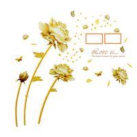 Naklejki na ścianę ścienne Złote Kwiaty Ramki Zdjęcia WS-0084
