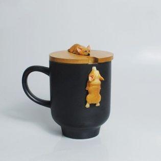 Kubek Ceramiczny - Z Drewnianą Pokrywką - Idealny do Kawy Lub Herbaty Czarny 360-400ml