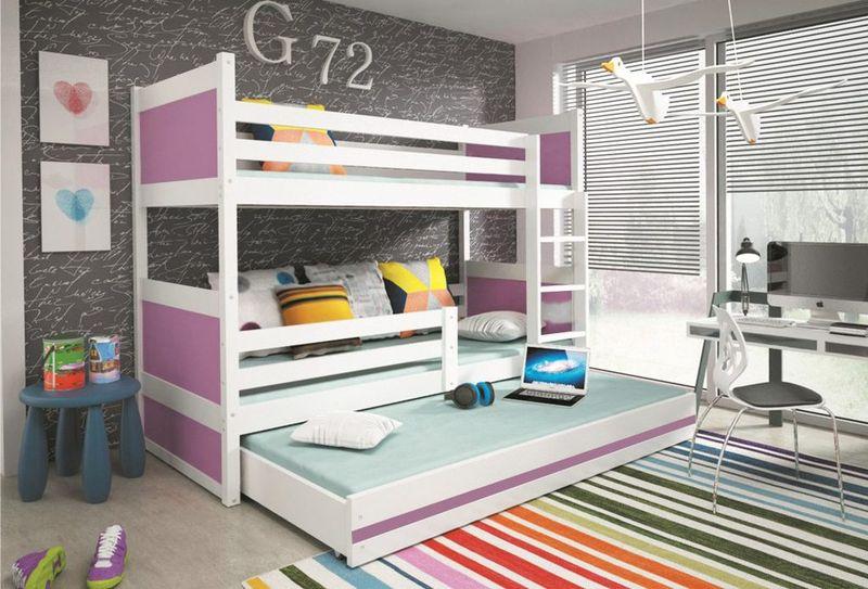 Łóżko meble dla dzieci drewniane Mateusz 190x80 piętrowe 3osobowe zdjęcie 2