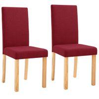 VidaXL Krzesła stołowe, 2 szt., czerwone wino, tapicerowane tkaniną