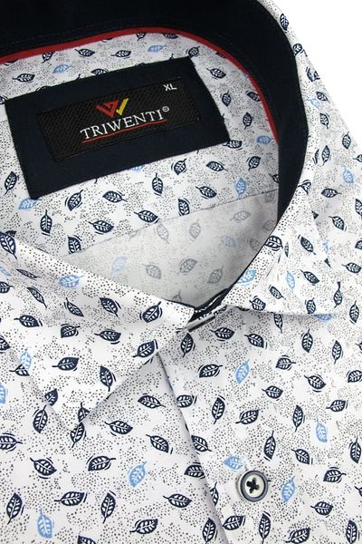 Duża Koszula Męska Triwenti biała w listki na krótki rękaw  fXzo3