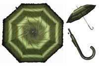 Automatyczna długa parasolka damska z falbanką, zielone listki